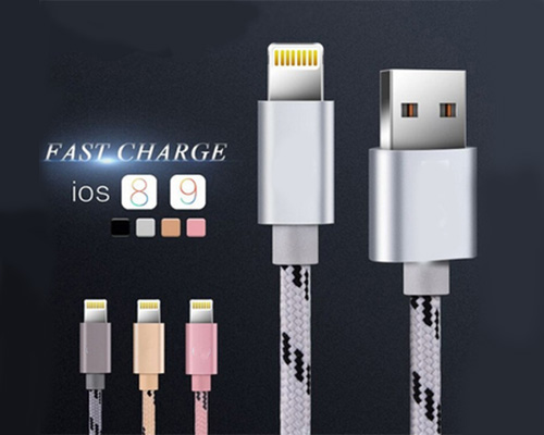 USB to Lightning Cable, iPhone Fast Charging Cable, Silver Gray